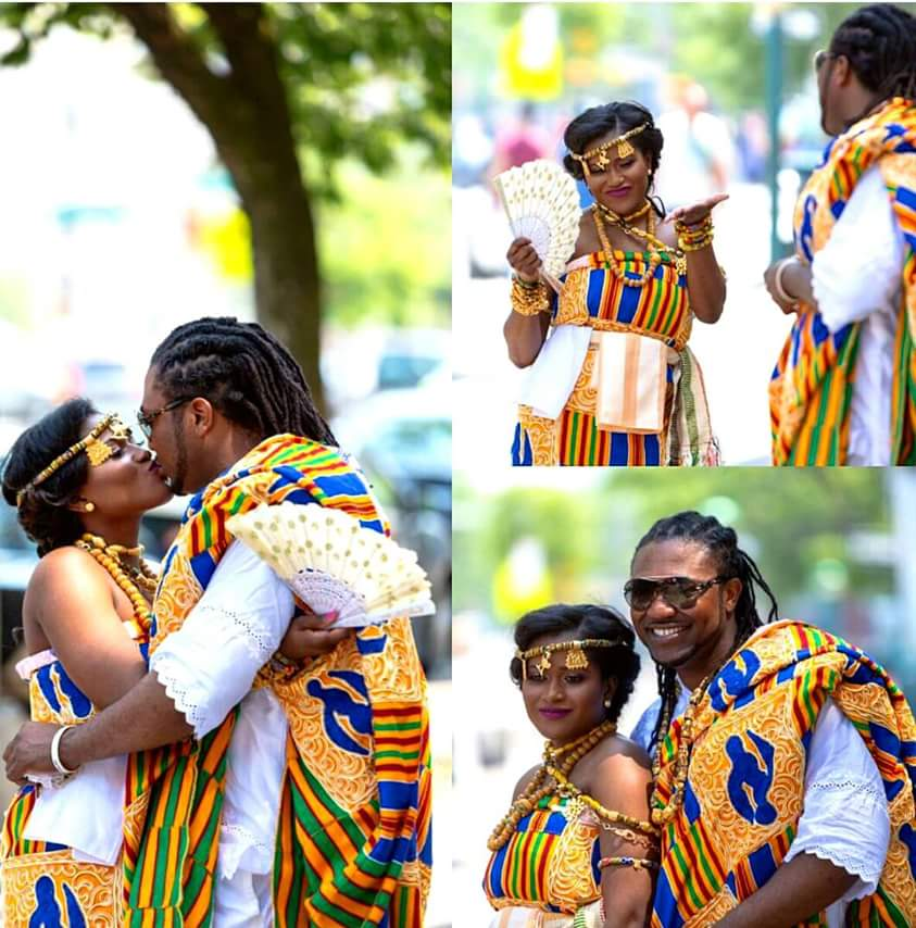 Just saw this beautiful  pic of Bright of Bukbak and his wifey. Pretty wife, kente too dope.