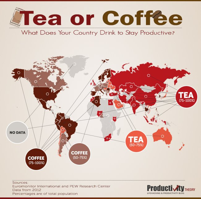 #Tea or #Coffee? #Map shows your country's preferred #caffeine kick. https://t.co/O1k7vstWP6