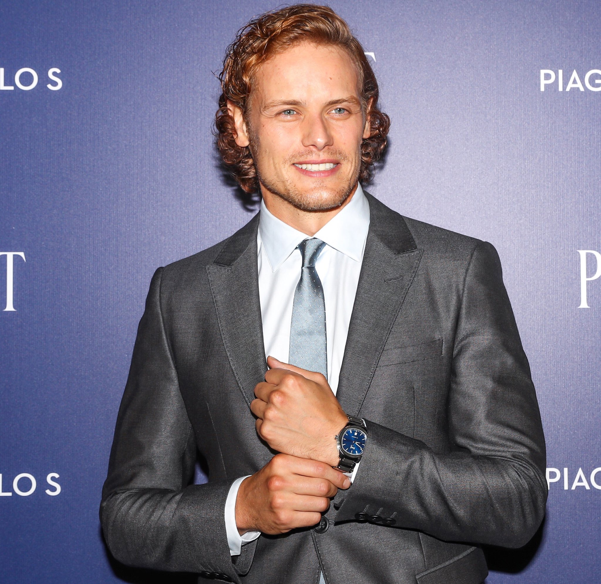 #tbt @SamHeughan rocking the automatic blue dial #PiagetPoloS at the #nyc launch event https://t.co/PTmzEL1fVv