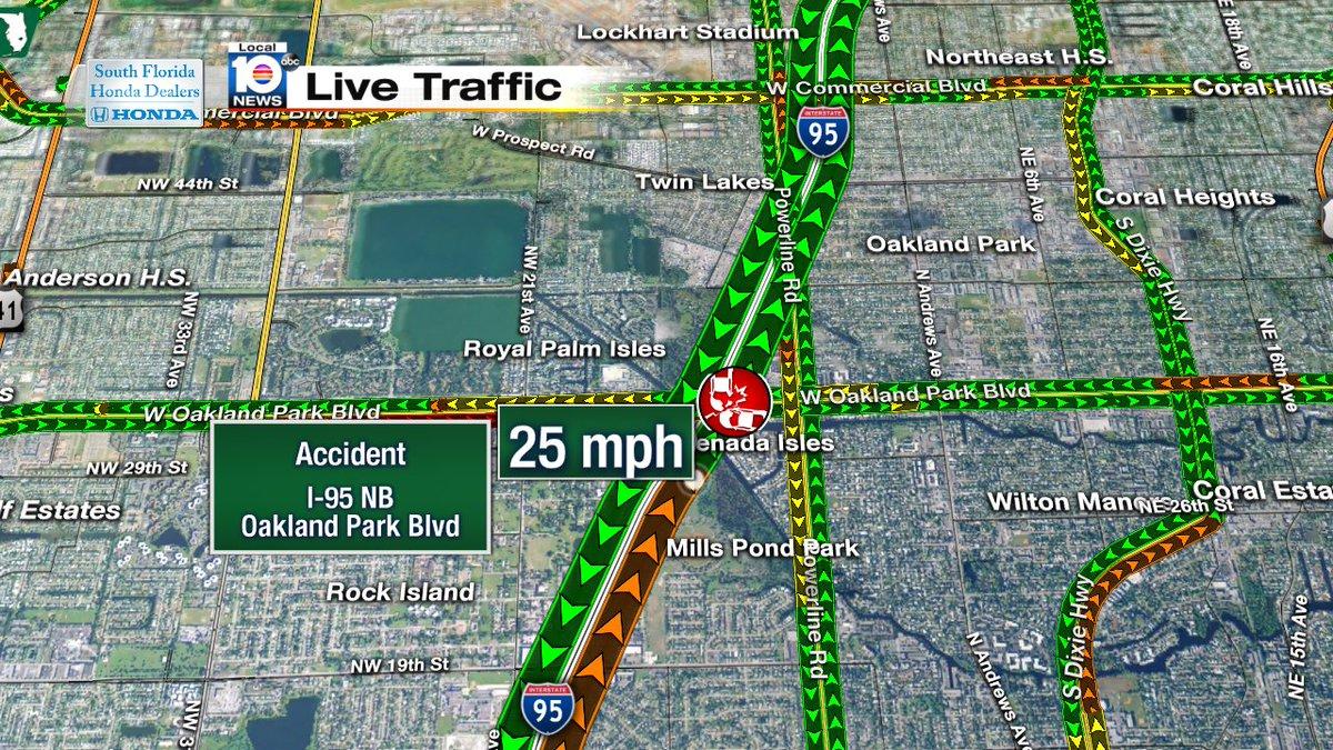 Accident On I Nb South Of Oakland Park Blvd Traffic - Florida map i 95