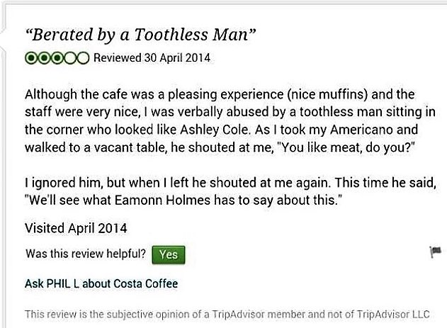 Just remembering my favourite ever TripAdvisor review https://t.co/tHCDyqF6iM