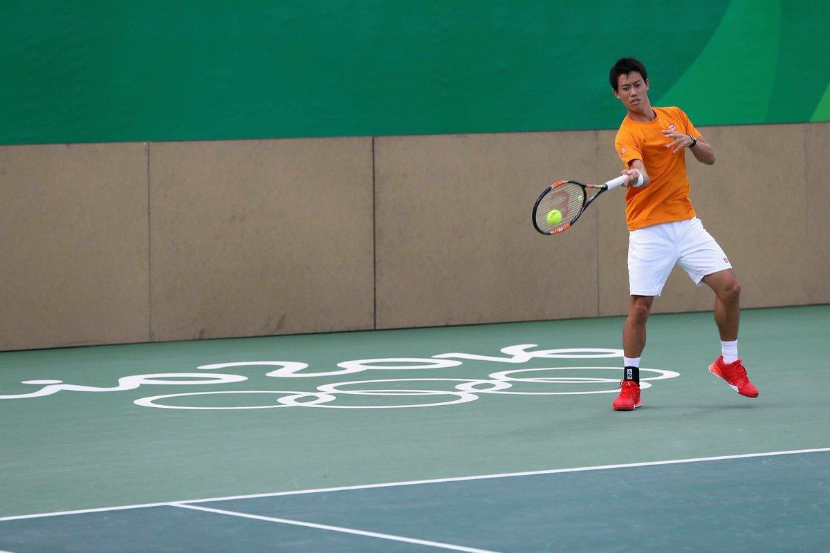 @keinishikori 選手が、現地で早速練習に励んでます😍😍 #テニス #オリンピック