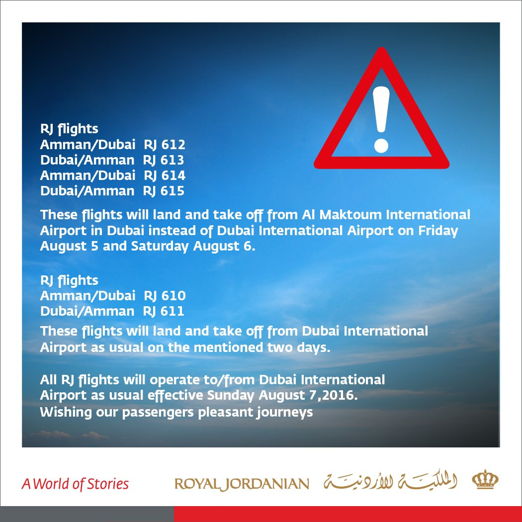 Announcement to all RJ passengers between Amman & Dubai: