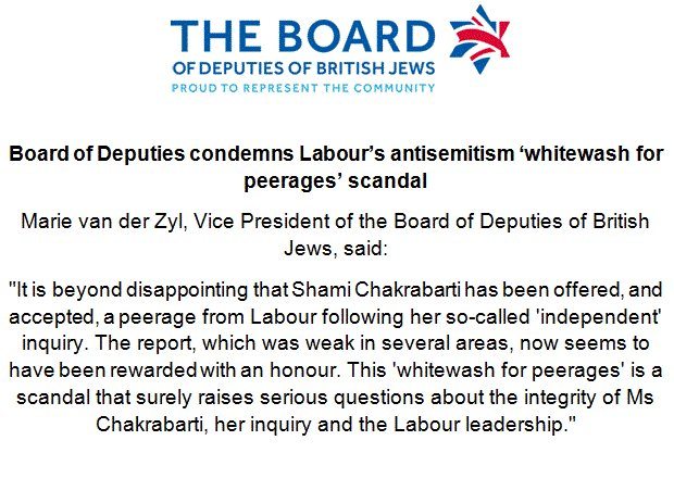 The Board of Deputies condemns @UKLabour antisemitism 'whitewash for peerages' scandal. Statement attached. https://t.co/Hs1RZqlH5k