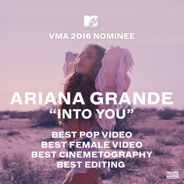 RT @RepublicRecords: VOTE @ARIANAGRANDE!   https://t.co/fFW9XfpCVf #VMAs2016 #VMAs @MTV https://t.co/WwI8K08q8g