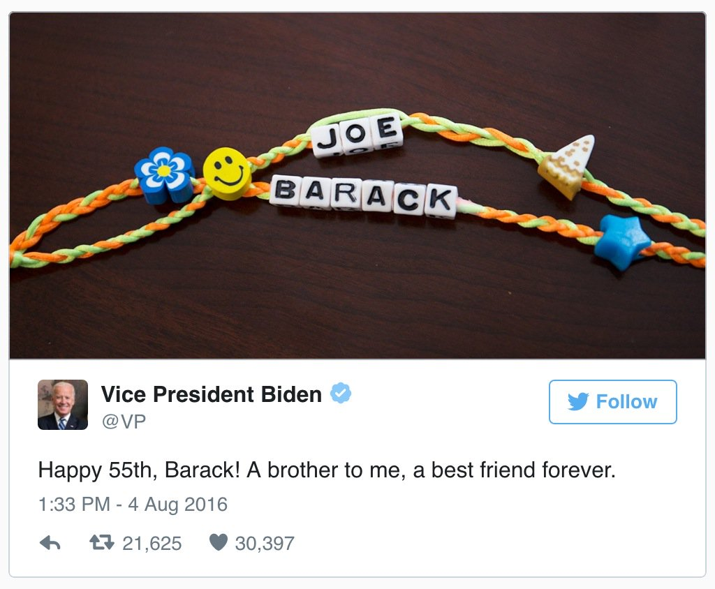 Joe Biden gives a special birthday shout-out to his BFF Obama: