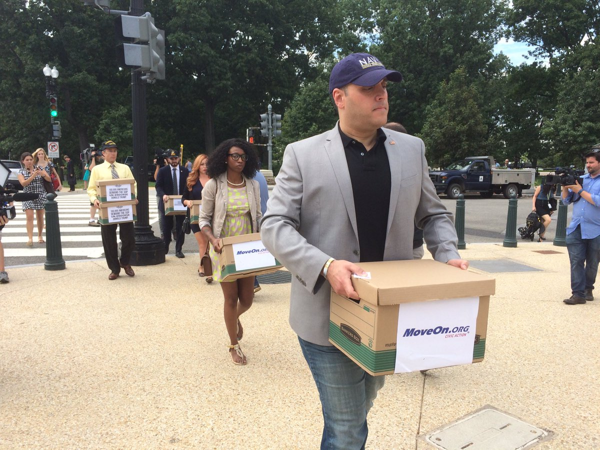 Veterans walking 100K petitions to John McCain's office, urging him to un-endorse Trump. https://t.co/MVFLPTo2vb