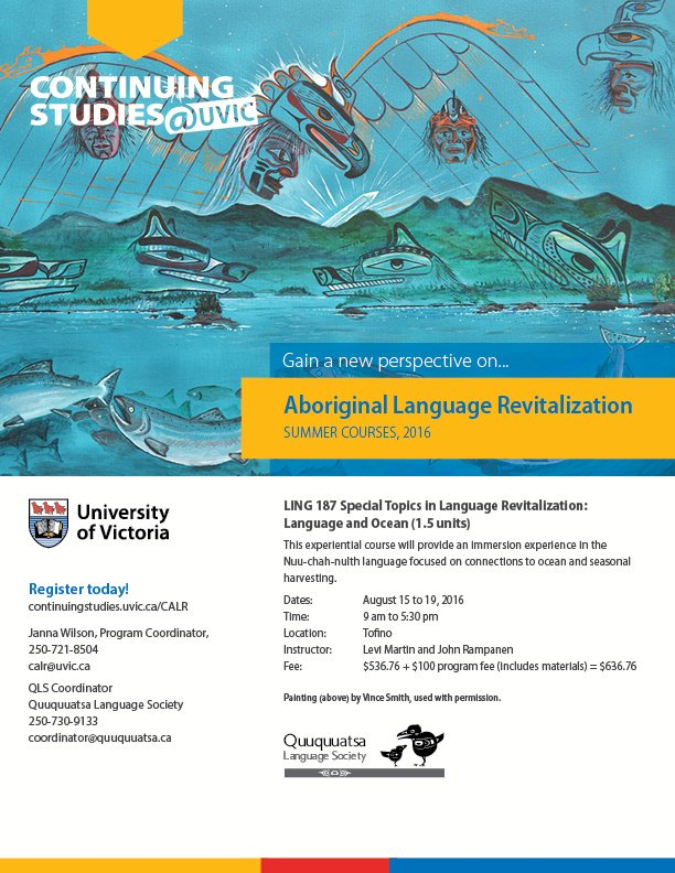 This course will immerse students in the Nuu-chah-nulth language on the land & ocean. Register by tomorrow! https://t.co/HazC7pNkH8