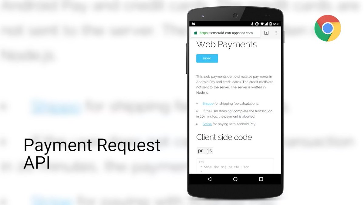 Payment Request API is coming to Chrome Beta. Check out this introduction article: https://t.co/YCYAtjYcJI https://t.co/AG8eBMavXU