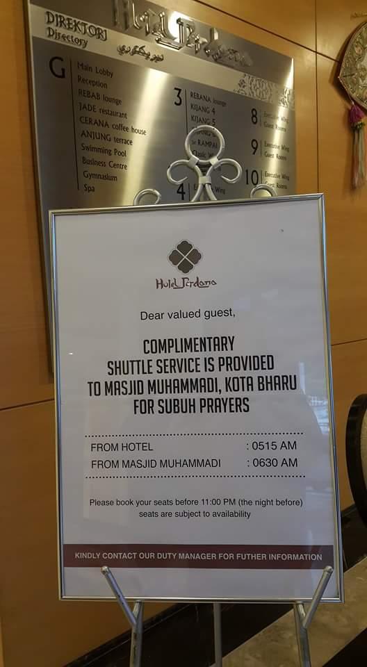 Hotel Perdana Kota Bharu menyediakan khidmat pengangkutan ke Masjid Muhammadi untuk bersolat Subuh. Allahuakbar.
