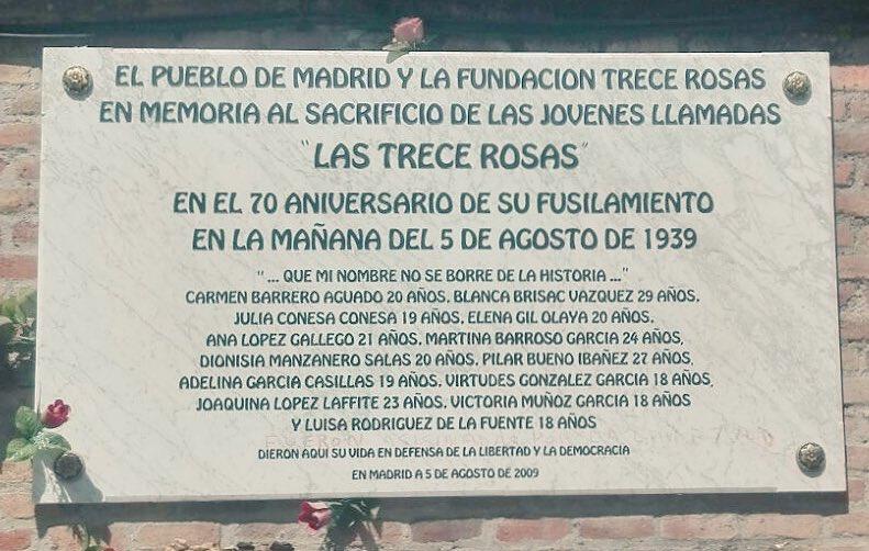 En el 77 aniversario del fusilamiento de 'Las 13 Rosas' recordamos sus nombres para que no se borren de la historia https://t.co/EIQo7RboQu