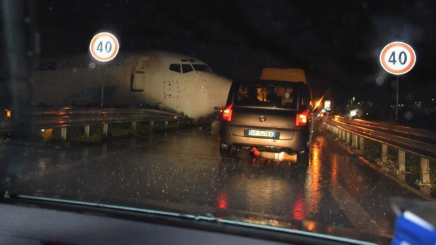 Cargo Plane Overshoots Runway, Ends on Local Road in Italy's Bergamo Airport