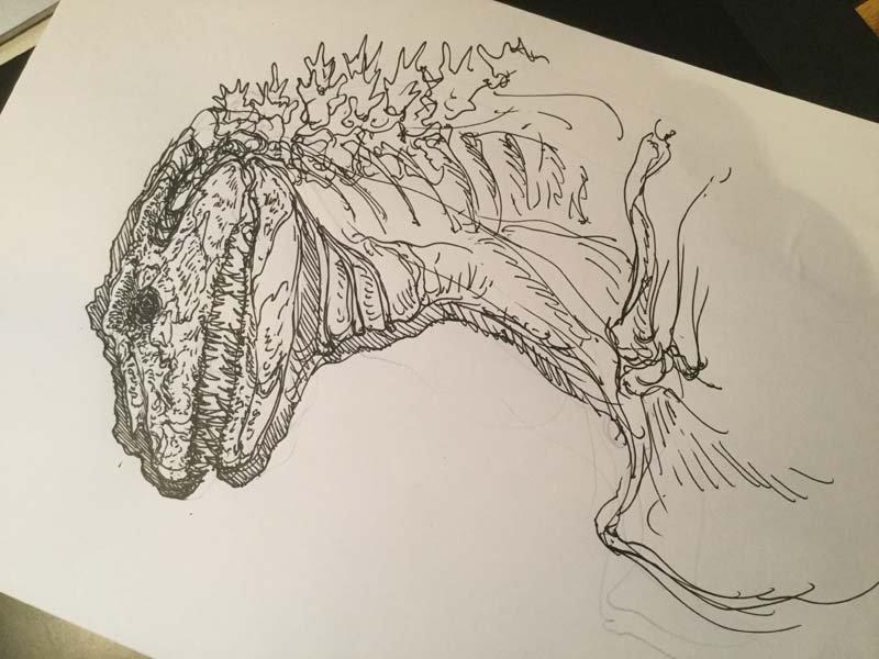 今日のシン・ゴジラの骨格図。まだまだラフ。最初に参考にしようと思ったのが絶滅両生類のCrassigy…