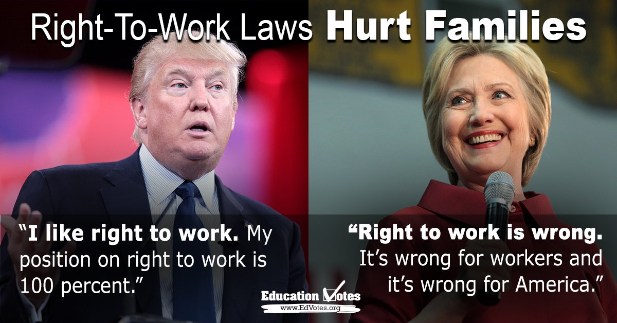Right-to-work reduces wages & benefits, hurting students, families. Hillary Clinton opposes & Donald Trump supports https://t.co/6gTjACNP1y