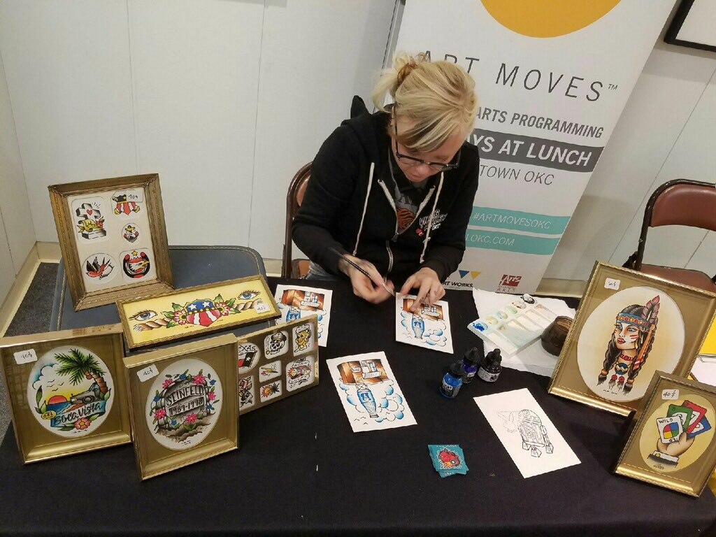 Art Moves is in the Underground (near the @SkirvinHiltonOK) today! @VikingAshley is live painting until 1PM. https://t.co/rK9ngGKgzu