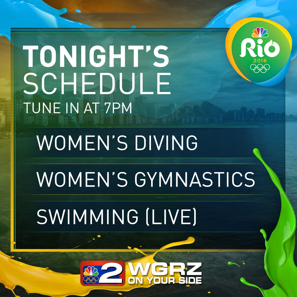 tonight's olympic coverage on nbc channel 2 beginning at 7pm. our