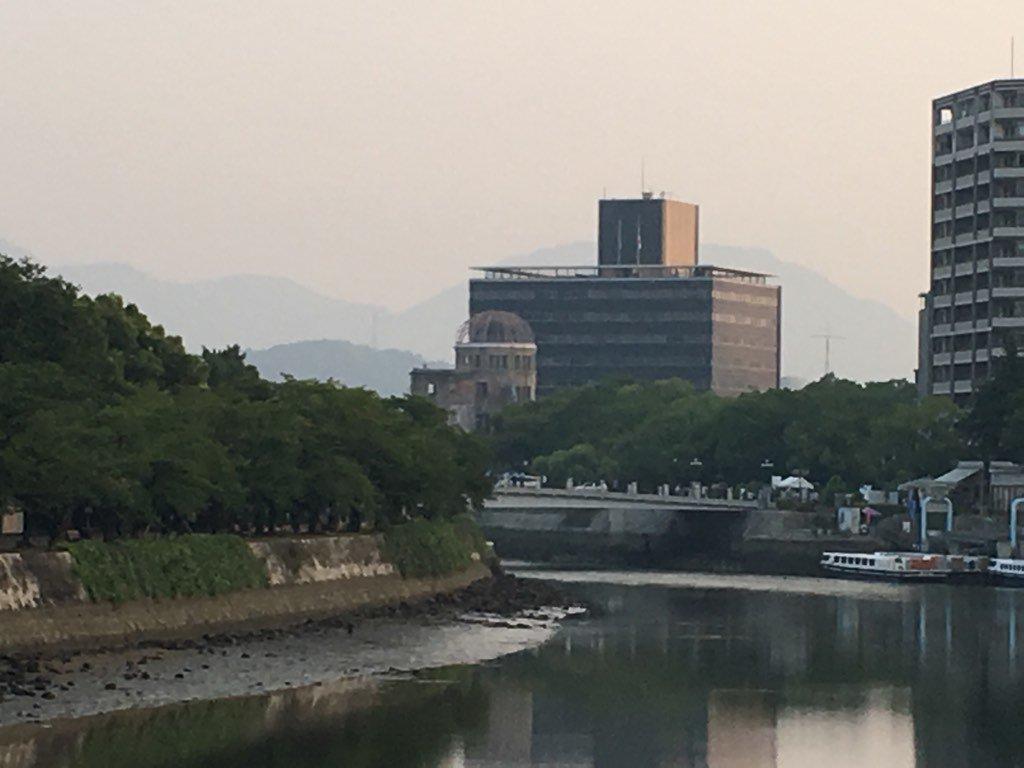 おはようございます。広島の朝、今日は広島原爆の日、被曝71年です。写真はホテル近くから見た原爆ドーム…