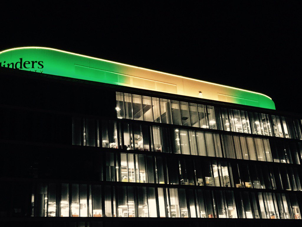 Go #Australia ! @Flinders Tonsley ablaze in gorgeous green and gold as we wish our athletes #Olympics2016 glory https://t.co/COEe3Vsqfd