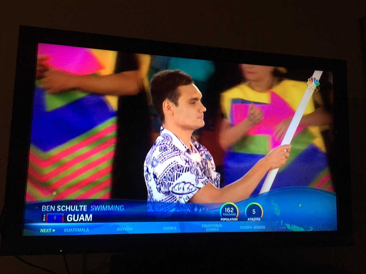 Ben Schulte '18 carries Guam's flag as the nation's Olympic team enters the stadium at the opening ceremony. https://t.co/hZdByckeZQ