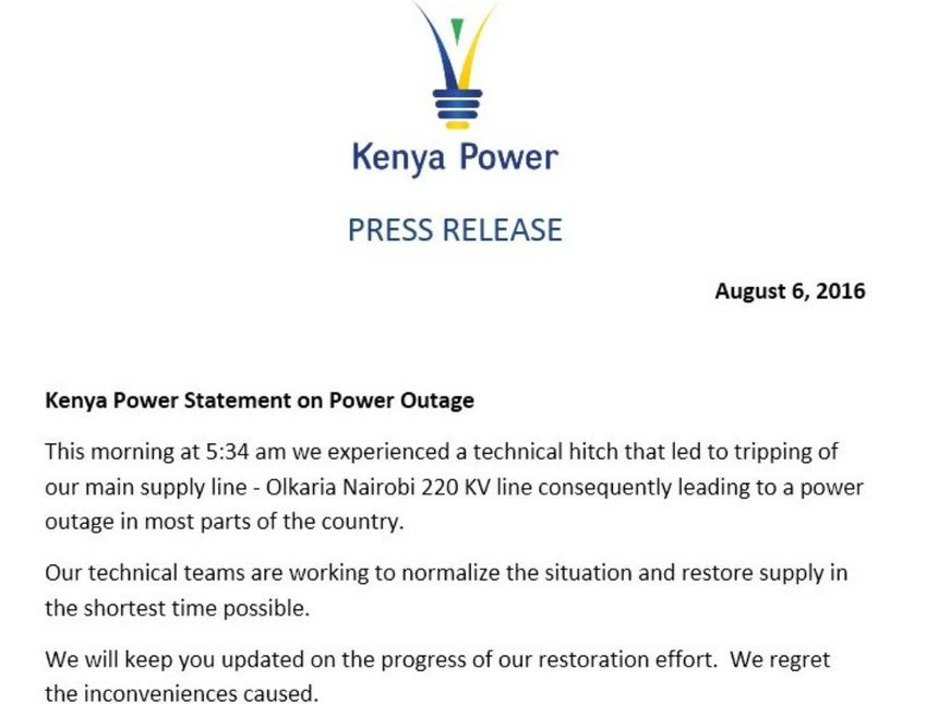 Kenya Power supply line restored after four-hour nationwide blackout