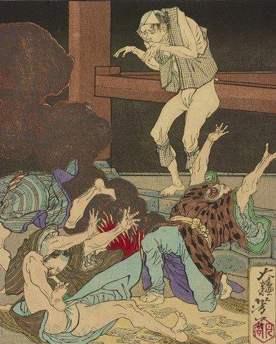 【怖い浮世絵】芳年が描いたちょっと間抜けな幽霊も登場。大酒飲みの男が焼酎を飲み過ぎて死んでしまいまし…