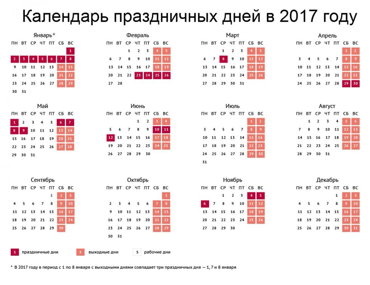 Календарь на 2017 год с праздниками (распечатать, скачать)