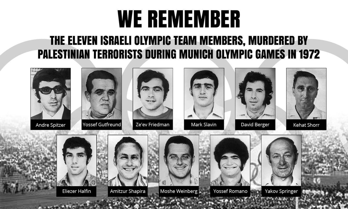 Never forget the Munich massacre at 1972 Olympics when 11 Israeli Olympians were murdered by Palestinian terrorist. https://t.co/5rtjQWJWen