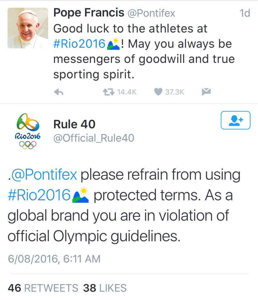 IOC thinks they own the hashtag #Rio2016 Calling out the Pope might not be the best way to get your point across https://t.co/XkwOHTmedj