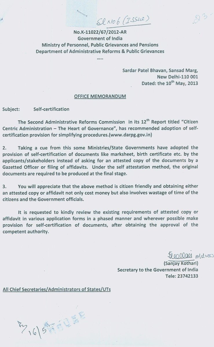 Self Attestation Was Introduced By Upa Modi Ji Pls See The Office