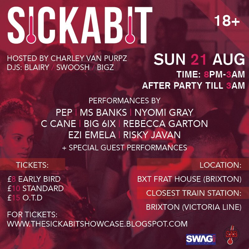 SICKABIT RETURNS • 21st AUG @ BXT FRAT HOUSE • https://t.co/5AJmF0CgRm https://t.co/aaXC54swRy