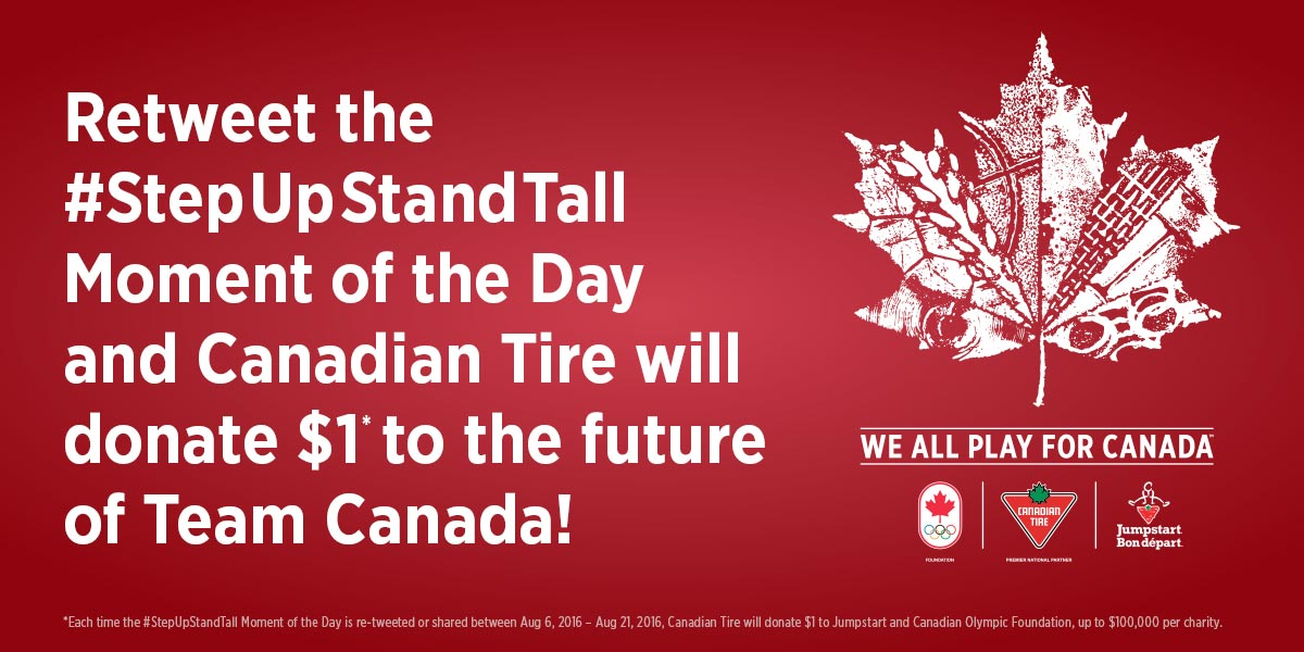 Retweet the #StepUpStandTall Moment of the Day on @CBCOlympics and we'll donate $1 to help future Olympic stars! https://t.co/TmjMFAD8ow