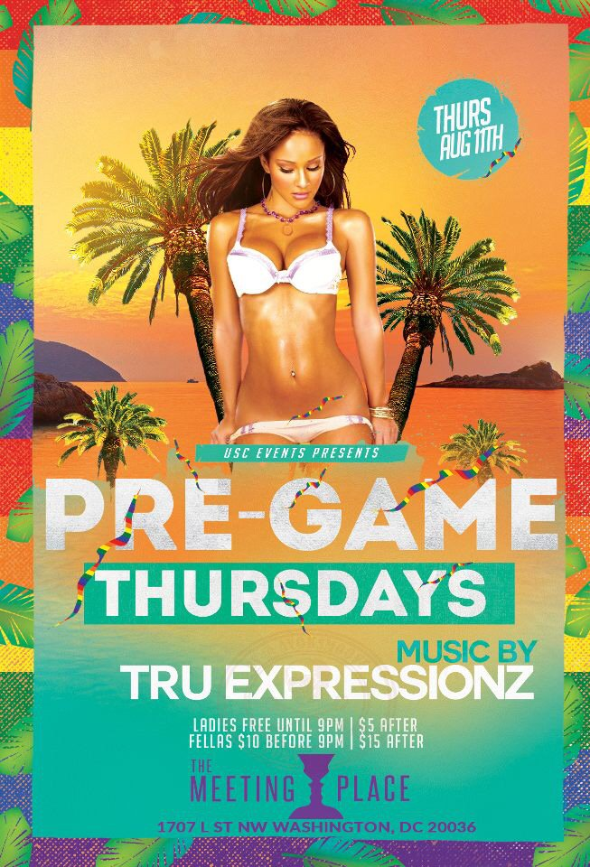 This Thursday Night Will Be Epic @ The Meeting Place 1707 L ST. NW. Wash. DC #PreGameThursdays |Tru Expressionz Live https://t.co/LZp77FmpJi