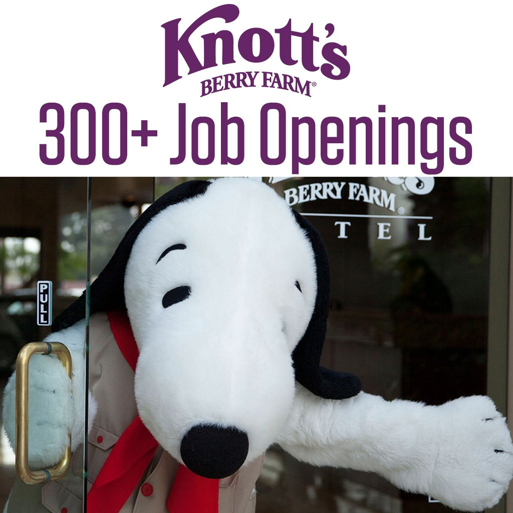 Over 300 job openings at Knott's Berry Farm. Spread the word! More info at...