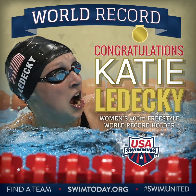 ‼WORLD RECORD‼️ @katieledecky (3:56.46) sets a new world record in the 400m FR! #SwimUnited