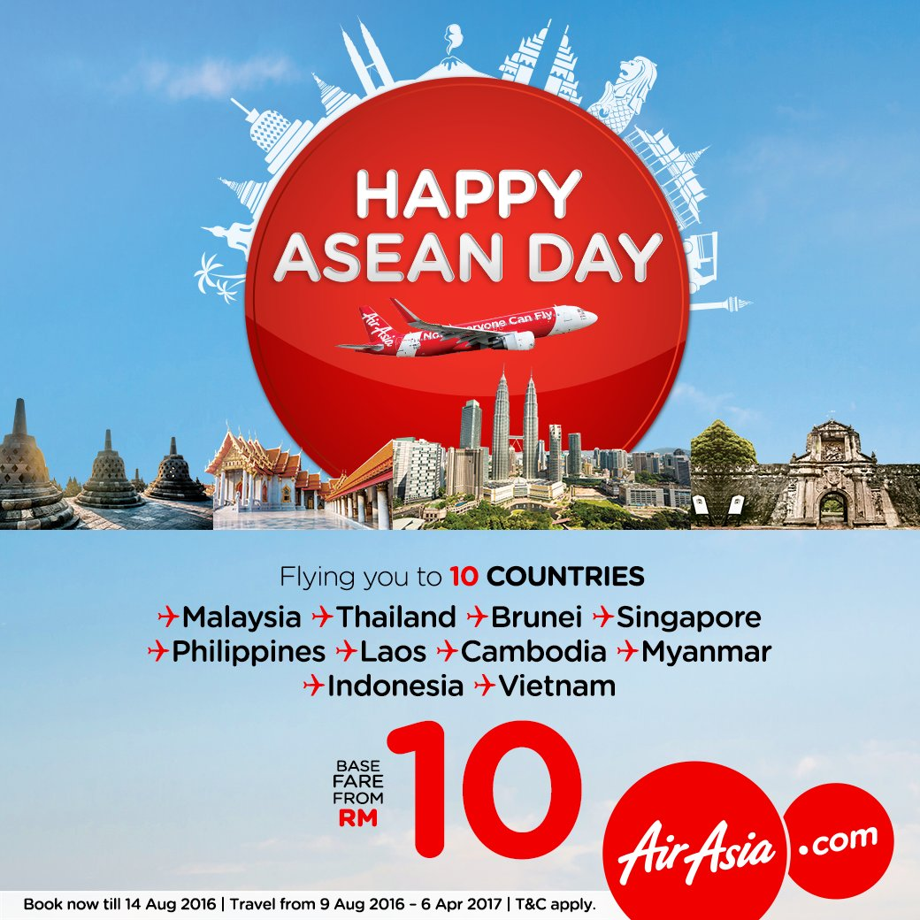 Selamat Hari ASEAN! Dah explore ke semua 10 negara di Asia Tenggara?Jom fly dari RM10! Book@