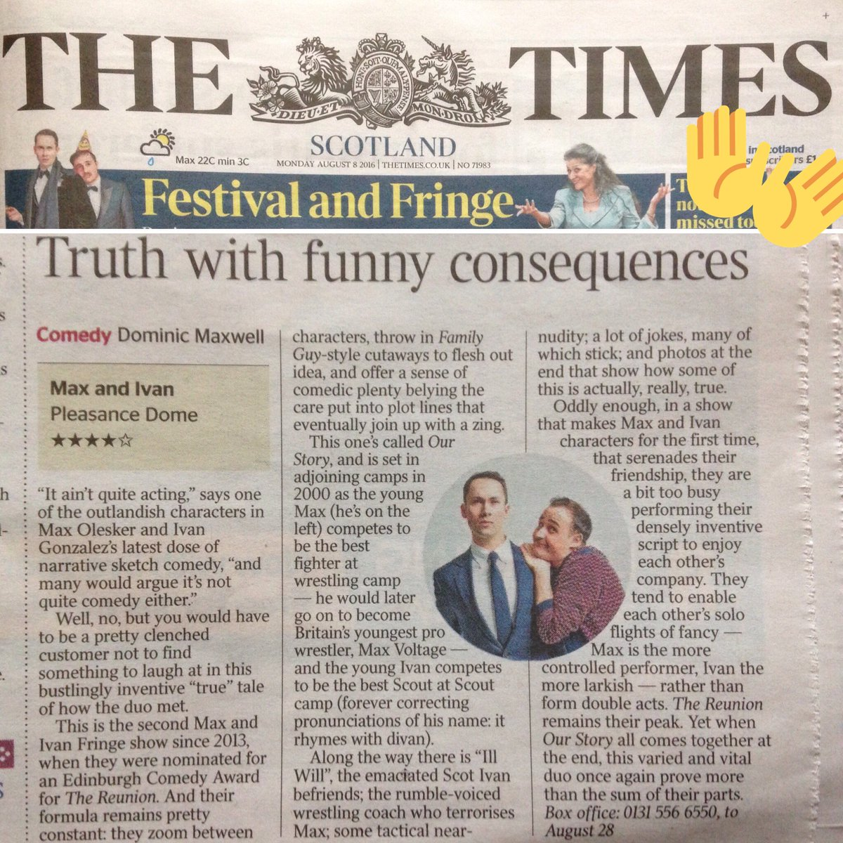 The first review is in and it's ★★★★ from The Times!  They even popped us on the cover!  https://t.co/QcJ8CrA9Vc https://t.co/TKgOuxoOVt