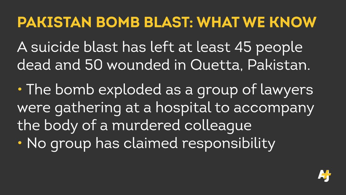 A suicide bomber has killed at least 45 people and wounded 50 others in #Quetta, Pakistan.