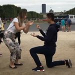 See how this crazy woman forced her lover to propose to her in Paris (HILARIOUS VIDEO)