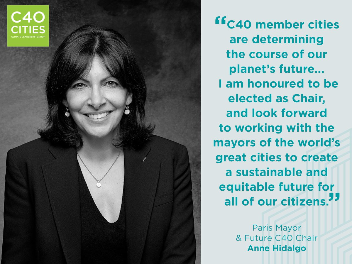 Congratulations #Paris Mayor @Anne_Hidalgo on being elected as next C40 Chair! https://t.co/qiV4k0EPFo https://t.co/sV3fSOThdH