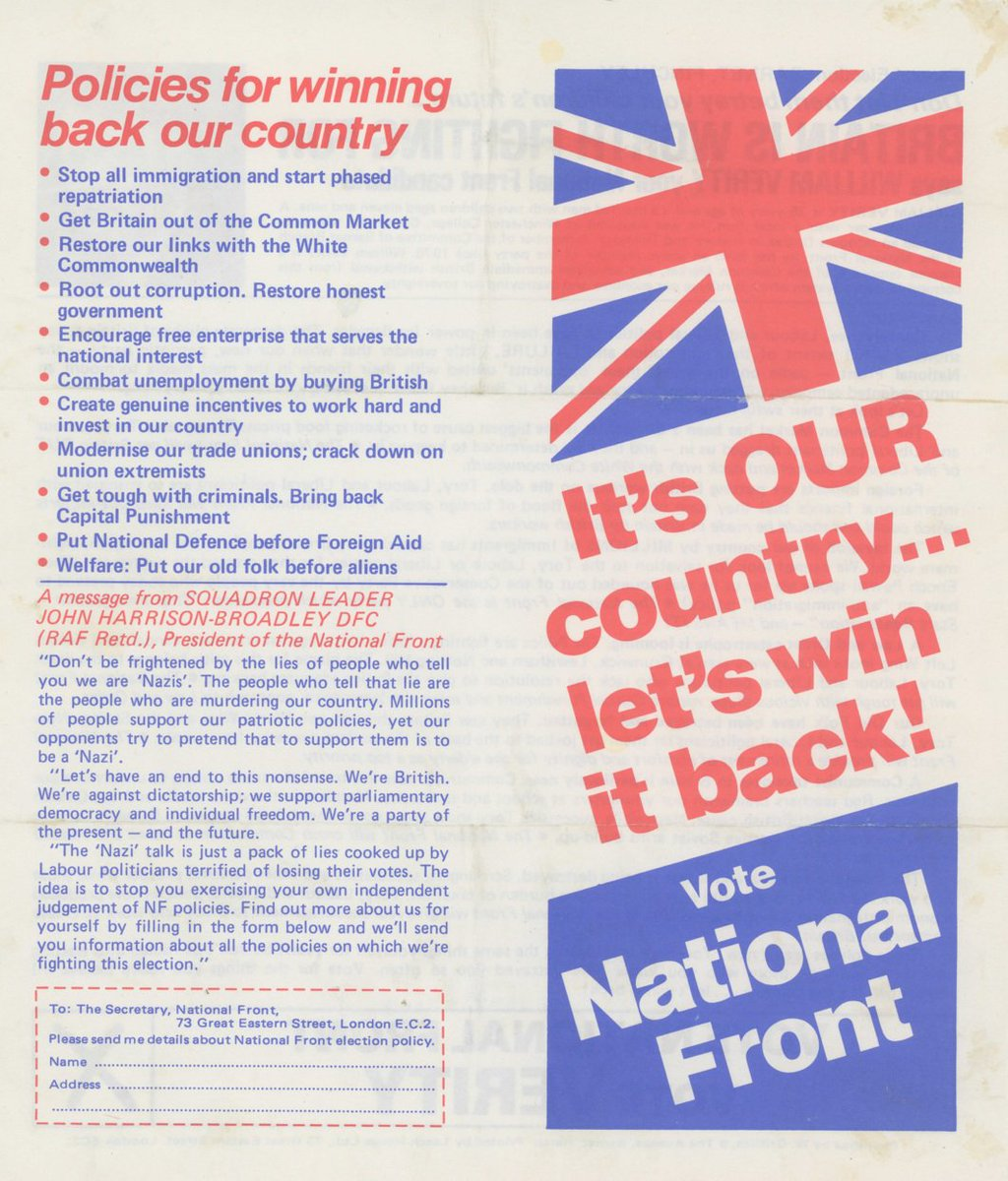 Another relevant item from Brit-town's '70s archive: an NF election leaflet. https://t.co/btbTH7sDB6