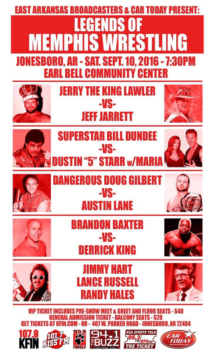 Legends of Memphis Wrestling Reunion! Saturday September 10. Earl Bell Community Center in JBR! VIP on sale Friday. https://t.co/L1PNMEHXGn