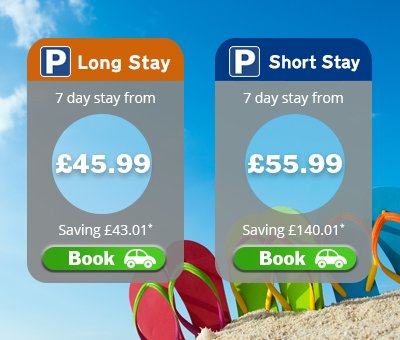 7 nights of parking from £45.99*.  Nobody sells our parking cheaper.  Book now:  *T&Cs apply