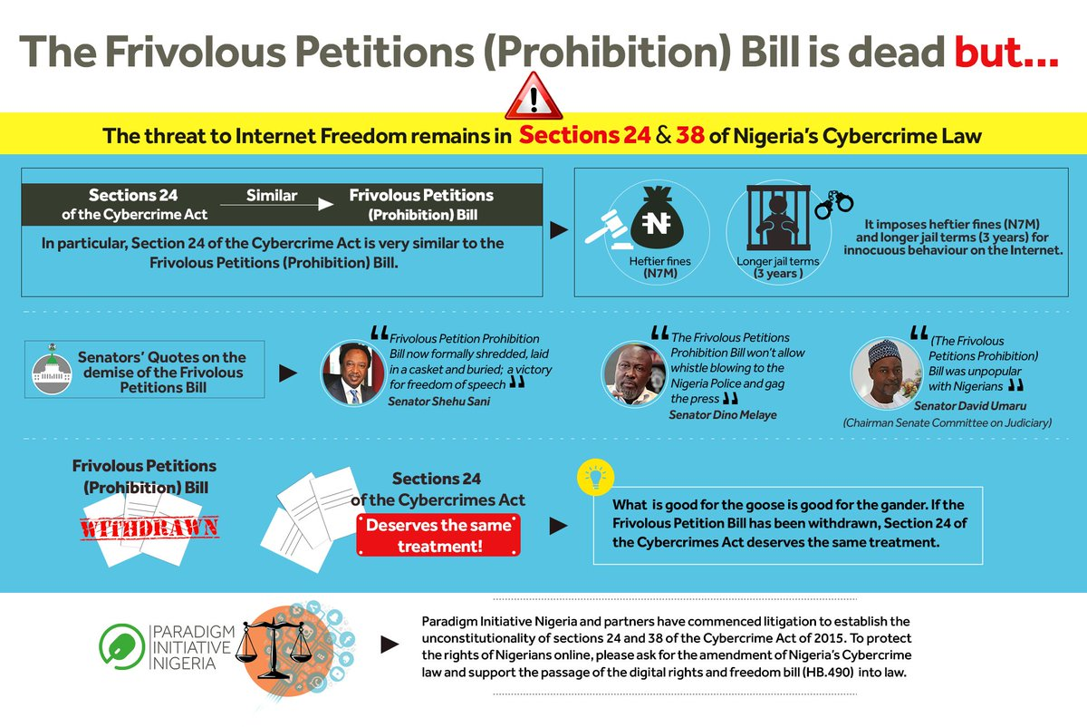 On May 23, 2016, @pinigeria @EiENigeria @MRA_Nigeria filed lawsuit to prevent abuse of S24 and S38 of Cybercrime law https://t.co/SGFhxwqD1T