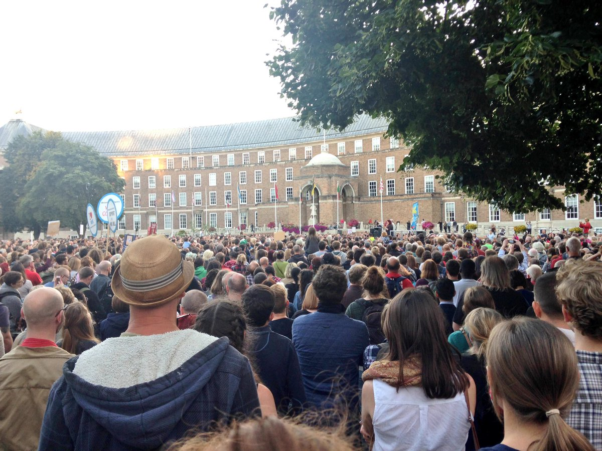 name me another politician in britain who could pull a crowd of this size? no, you can't. #corbyn #bristol https://t.co/TTEx61ltuL