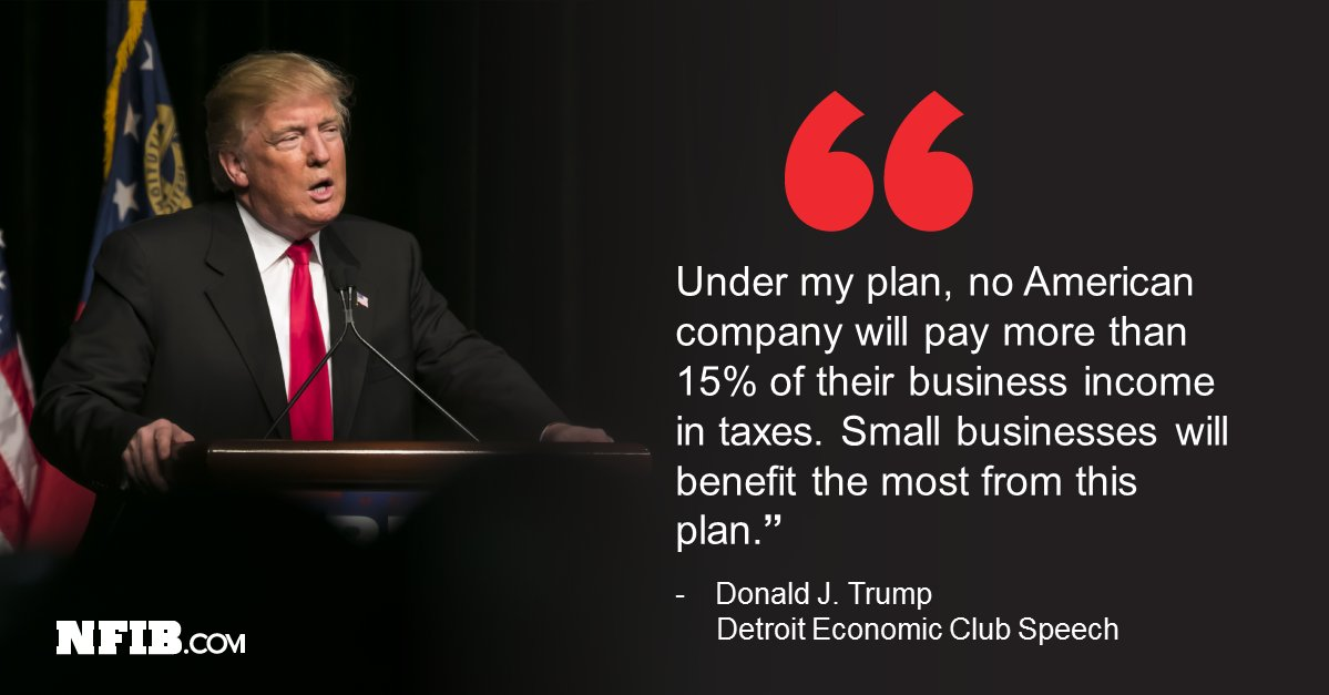 A 15% tax rate would create a level playing field for businesses of all size. @realDonaldTrump https://t.co/nltzcLGque