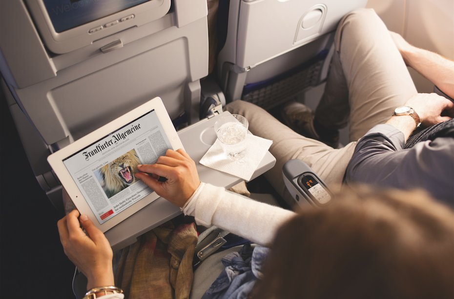 Thanks to free eJournals you can have a variety of in-flight newspapers & magazines.