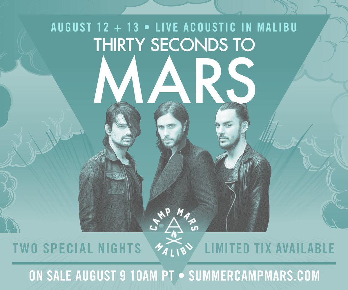 RT @30SECONDSTOMARS: ⚡️ Join us THIS WEEKEND in MALIBU!!! Show tickets on sale TOMORROW, AUG 9 10AM PT! https://t.co/SBiWwh4Xfc