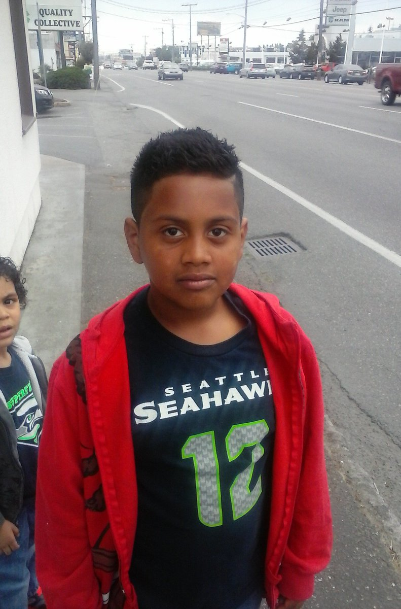 "Missing:Mauricio Calloway 9 yo 4'6"" 90 lbs short black hair brown eyes L/S 13000 blk Midvale Av N Call 911 if found"