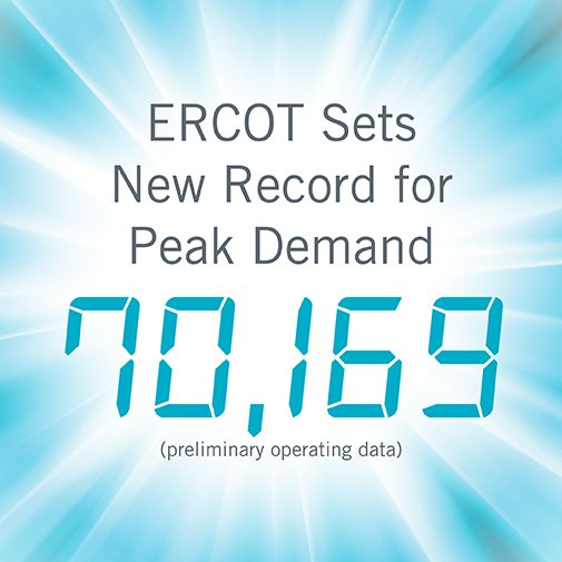 ERCOT sets new systemwide peak record. Preliminary operating data shows 70,169 MW between 4 and 5 p.m. https://t.co/yw8rl6A11g