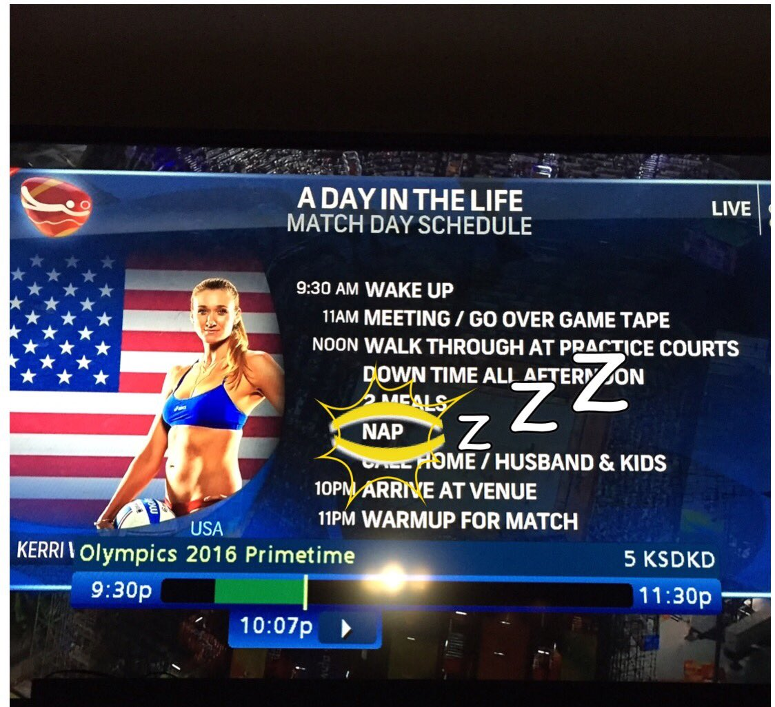 "If u've competed @ a competition late in the evening u knw the ""NAP"" is most important. @NBCOlympics"